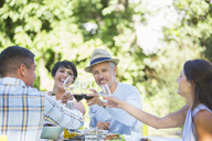 Friends toasting each other at table outdoors - CAIF04855