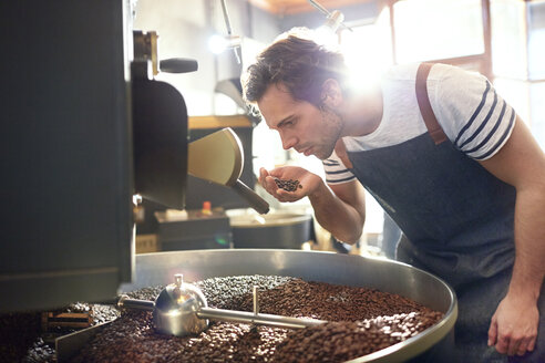 Male coffee roaster smelling coffee beans at roaster - CAIF04953