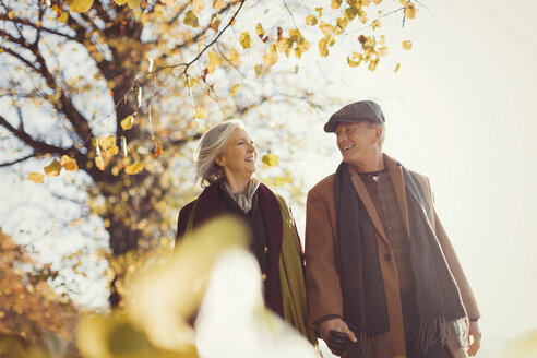Smiling senior couple holding hands and walking in sunny autumn park - CAIF05310