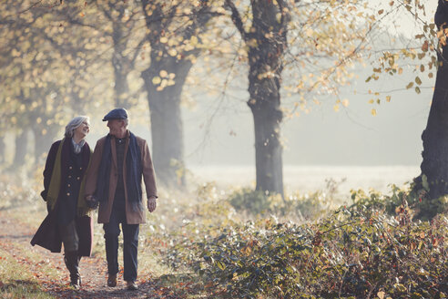 Senior couple holding hands walking in sunny autumn park - CAIF05331