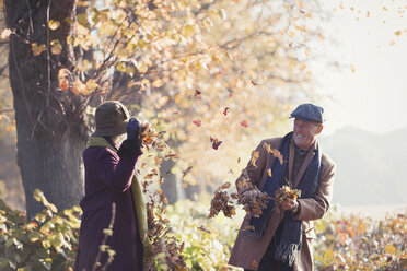 Playful senior couple throwing autumn leaves in sunny park - CAIF05334