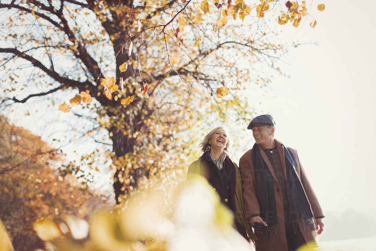 Affectionate senior couple holding hands walking in sunny autumn park - CAIF05346 - Paul Bradbury/Westend61