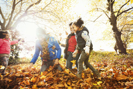 Playful young family playing in autumn leaves in sunny park - CAIF05427