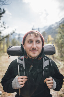 Canada, British Columbia, Mount Robson Provincial Park, portrait of smiling hiker - GUSF00432
