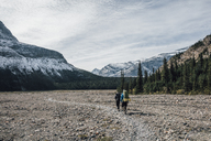 Canada, British Columbia, Mount Robson Provincial Park, two men hiking on Berg Lake Trail - GUSF00483