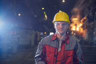 Portrait confident steelworker in steel mill - CAIF06923