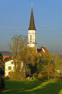 Germany, Bavaria, Upper Bavaria, Haag, Church of the Assumption in evening light - LBF01838
