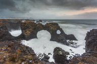Rock formations among stormy ocean, Amarstapi, Snaefellsnes, Iceland - CAIF07548