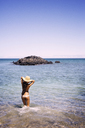 Rear view of woman standing in sea - CAVF01451