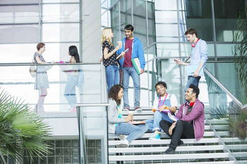 University students relaxing on steps - CAIF08189