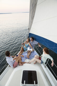 High angle view of couples traveling in yacht - CAVF03949