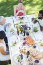 Friends eating together outdoors - CAIF08474
