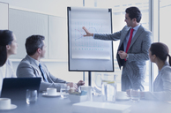 Businessman leading meeting at flip chart in conference room - CAIF08975