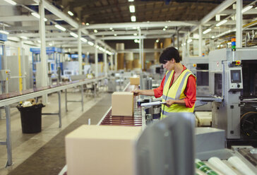 Worker checking cardboard boxes on conveyor belt production line in factory - CAIF09053