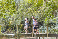 Family crossing footbridge in park with trees - CAIF09173