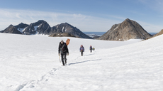 Greenland, Sermersooq, Kulusuk, Schweizerland Alps, group of people walking in snow - ALRF00936