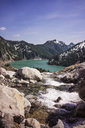 Scenic view of lake against mountains - CAVF04389