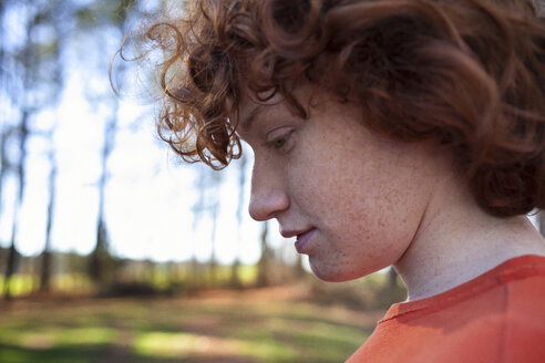 Close-up of boy in backyard - CAVF04862