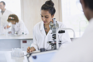Focused female college student conducting scientific experiment at microscope in science laboratory classroom - CAIF09995