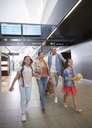 Family walking in airport concourse - CAIF10226