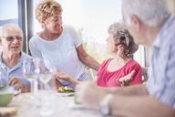 Senior couples enjoying lunch - CAIF11417