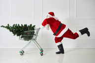 Santa Claus transporting Christmas tree in a shopping cart - ABIF00106