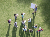 Businessman leading meeting at flipchart in sunny field - CAIF11956