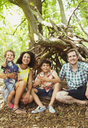Portrait smiling family in woods - CAIF12319