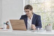 Smiling businessman using laptop on desk - RORF01147