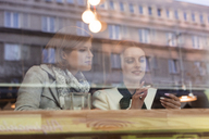Businesswomen using cell phone at cafe window - CAIF12796