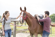 Couple saddling horse in rural pasture - CAIF13018