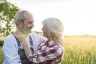 Affectionate senior couple hugging in sunny rural wheat field - CAIF13063