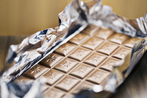 Close up of unwrapped bar of chocolate - CAIF14491