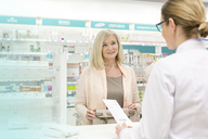 Customer giving prescription to pharmacist in pharmacy - CAIF14707