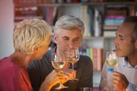 Older friends tasting white wine - CAIF14836
