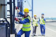 Worker climbing cargo crane - CAIF15145