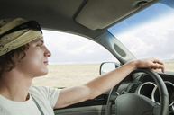 Man driving in pick-up truck - CAVF06203