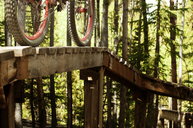 Cropped image of bicycle on sports ramp in forest - CAVF06227