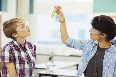 Teacher and student during chemistry lesson, wearing protective eyewear and looking at test tube with green liquid - CAIF15227