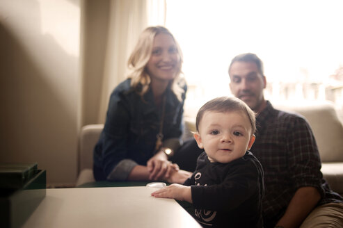 Parents with baby boy at home - CAVF06905