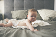 Portrait of little baby lying on front on bed with raised head - CAIF15335