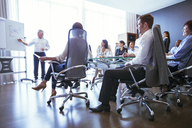 Business people having meeting in conference room, watching colleagues presentation - CAIF15467