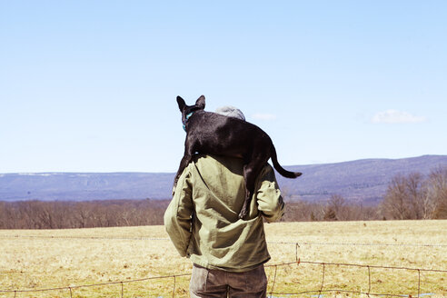 Rear view of man carrying dog on shoulders while standing at field against blue sky - CAVF07019