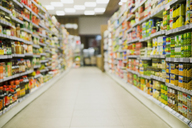 Defocussed view of grocery store aisle - CAIF15563