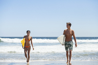 Happy couple carrying surfboard while walking at beach against clear sky - CAVF07644