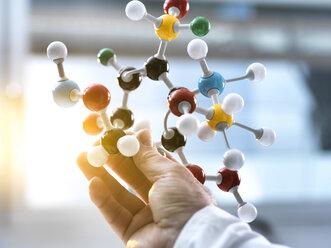 Scientist holding a molecular model - ABRF00122