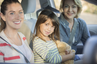 Portrait of multi-generation women inside car - CAIF16929