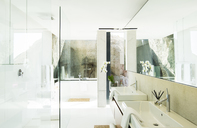 Sinks and bathtub in modern bathroom - CAIF17152
