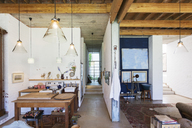 Kitchen and living area of rustic house - CAIF17527