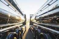 Stainless steel milk tankers side by side - CAIF17578